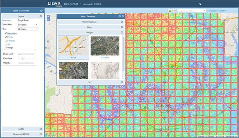 LIDAR Server provides easy organization and management of large LIDAR projects