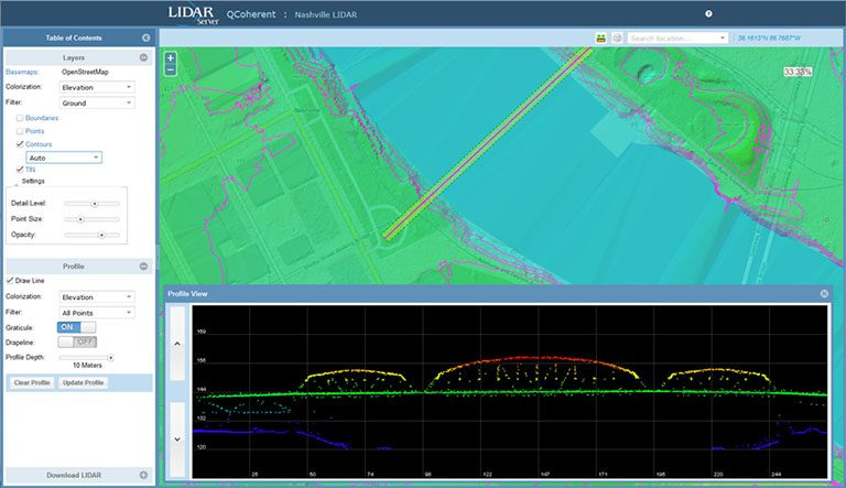 LIDAR Server provides multiple data representations including points, TINs, contours and profile views