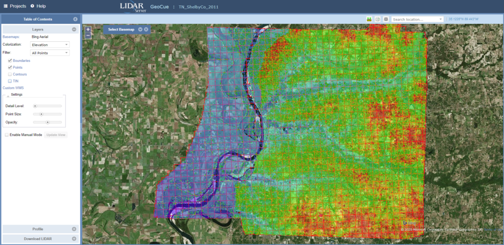 LIDAR Server MapView of Shelby County, TN