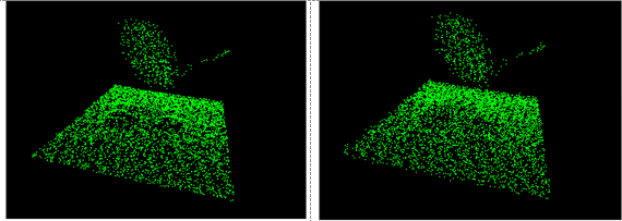 Before (left) and after (right) smoothing image of a satellite dish