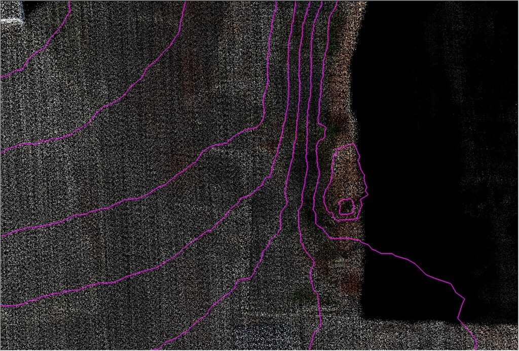Smooth Contours Rendered Over Smoothed Point Cloud